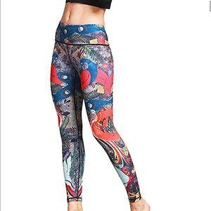 Printed yoga athletic leggings